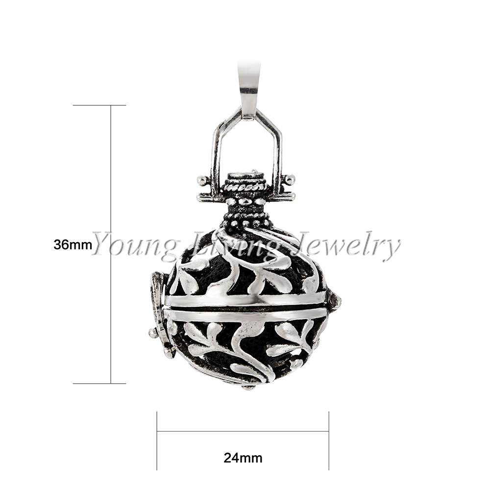 US $2 17 15% OFF|1PC Vintage Silver Sea Weed Open Cage Locket Essential Oil  Diffuser Pendant Necklace Aroma Diffuser Necklace with Lava Rock-in