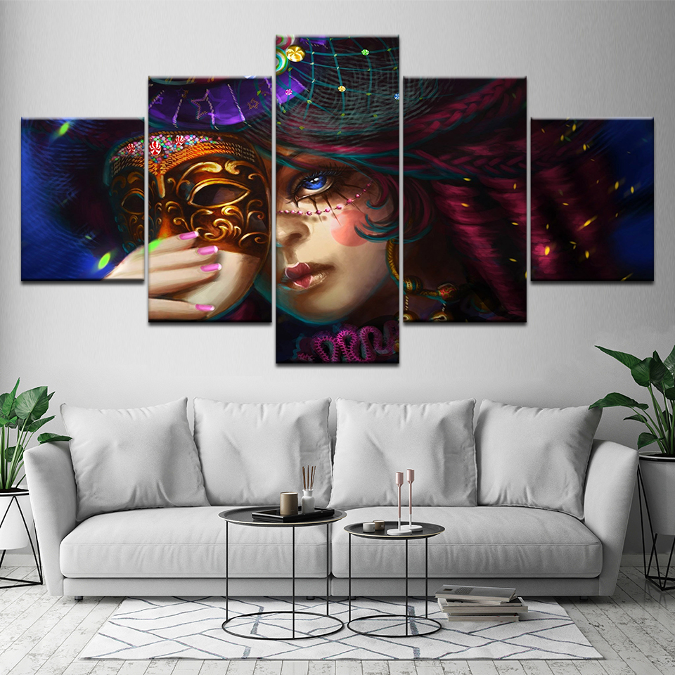 Canvas Painting mystical carnival woman with mask 5 Pieces Wall Art Modular Wallpapers Poster Print Home Decor
