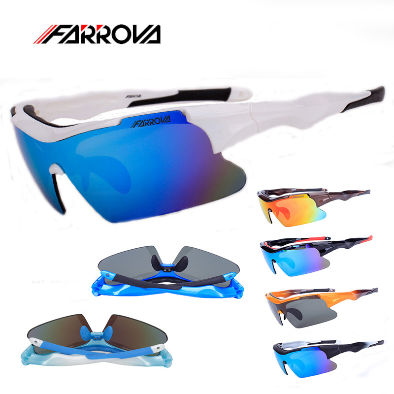 Farrova Polarized Sports Glasses Cycling Sunglasses 5 Interchangeable Lens Men Cycling Eyewear Motorcycle Sun Glasses KD018P veithdia brand fashion men s sunglasses polarized color mirror lens eyewear accessories driving sun glasses for men 3610
