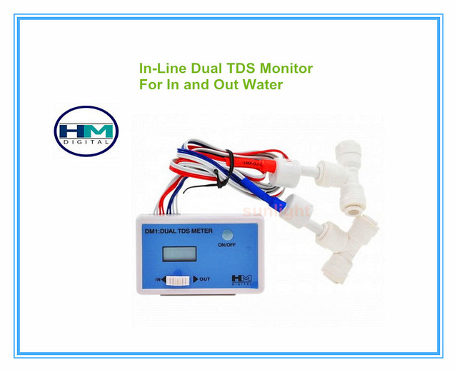 HM Digital 5pcs/lot  DM 1 Home Tap Water In Line Dual TDS Monitor can Measure both In put Water and Out put Water