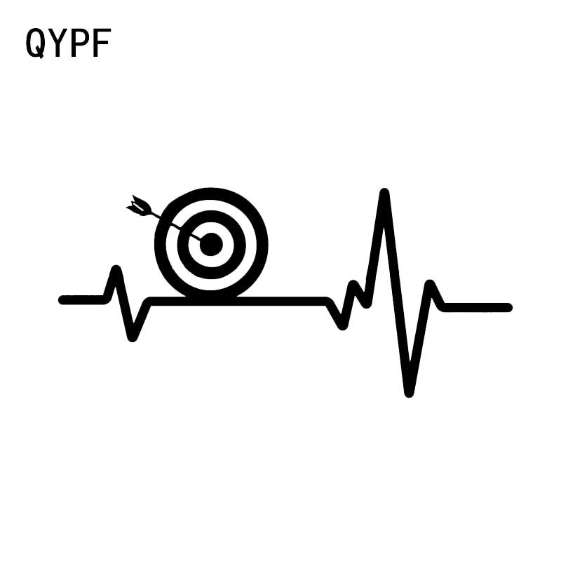 QYPF 15.7*7.3CM Heart Beat Line ARCHERY Bow Target Bullseye Decor Car Modelling Sticker Vinyl Accessories Bumper Window C16-1650