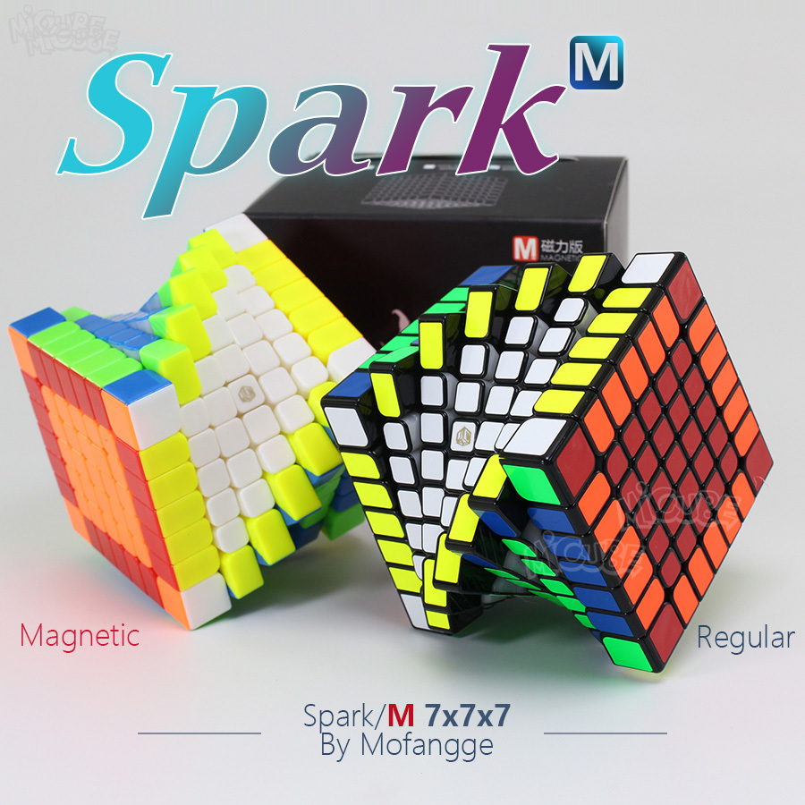 Mofangge x-man Spark & Spark M 7X7x7 Cube magnétique régulier 7x7 magique vitesse Cube Cubo sans collant noir torsion jouets éducatifs