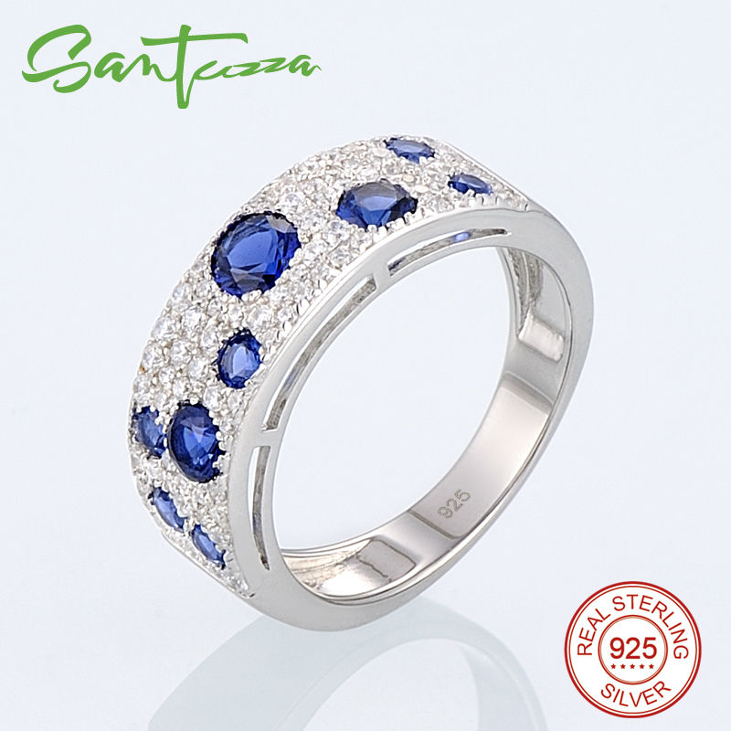 Image 4 - SANTUZZA Jewelry Set for Women Gorgeous Blue Nano CZ Earrings Ring Set Genuine 100% 925 Sterling Silver Sparkling Jewelry Set-in Jewelry Sets from Jewelry & Accessories