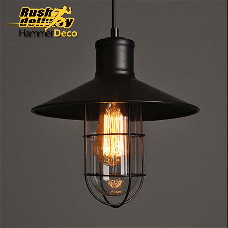Vintage Industrial Loft Style Ceiling Fixtures Retro Lamp: Vintage Cage Loft Style Lamp Black Retro Industrial