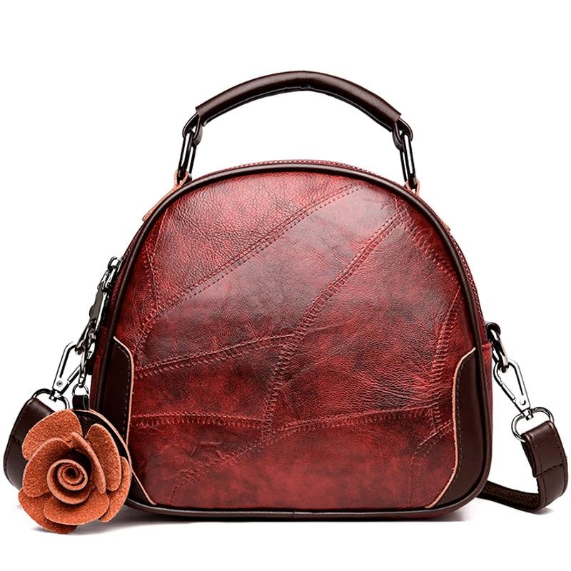 Women Retro Genuine Leather Shoulder Bag Cowhide Lady Flower Backbag Hign Quality Designer Luxury Multifunction Backpack