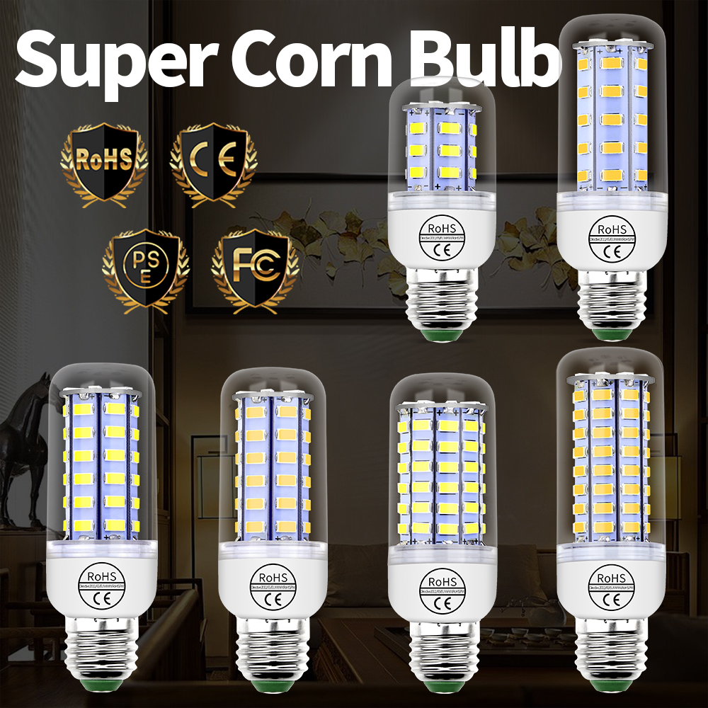 Bombillas Led E27 Corn Bulb 220V 24 36 48 56 69 72leds Ampoule Lampada LED Lamp E14 Candle Light Bulbs for Chandelier SMD 5730 led bulbs light lamps e27 e14 5730 220v 24 36 48 56 69leds led corn led bulb christmas lampada led chandelier candle lighting