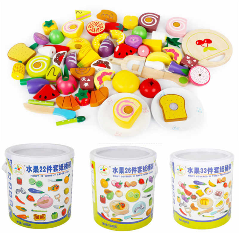Baby Toys 22/26/33Pcs Magnetic Fruit/Vegetable/Dessert Food Cut Set Wooden Toys Bottle Packing Kitchen Toy Child Bithday Gift