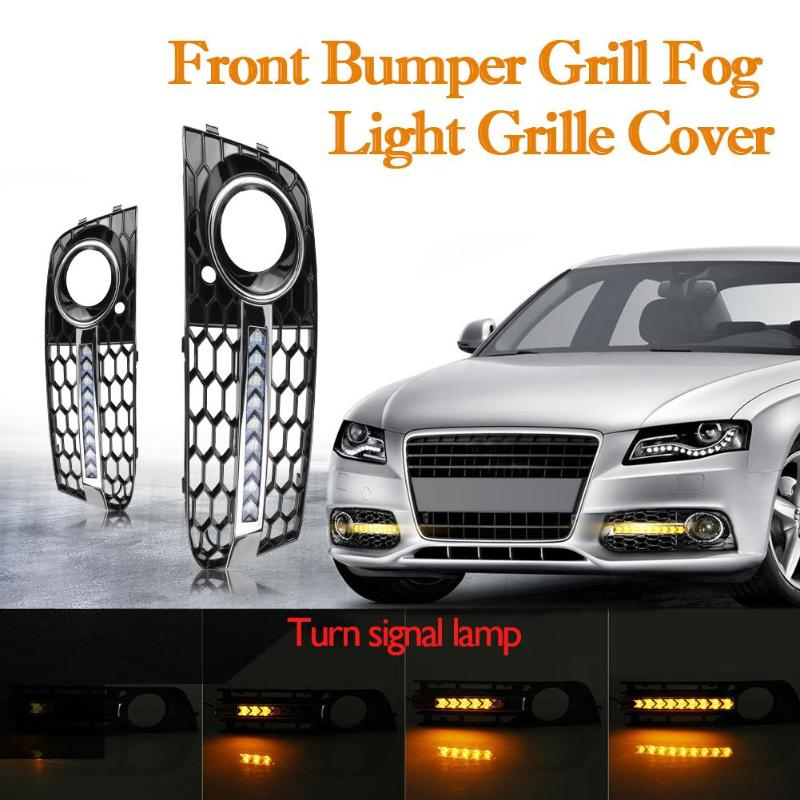 VODOOL 1 Pair Car Light Front Bumper Fog Light Grill Grille Cover with Flowing LED Turn Signal Lamp DRL for AUDI A4 B8 09-11 1 pair front halogen fog lights lamps turn signal light front bumper fog light for hyundai sonata 2011 2012 2013