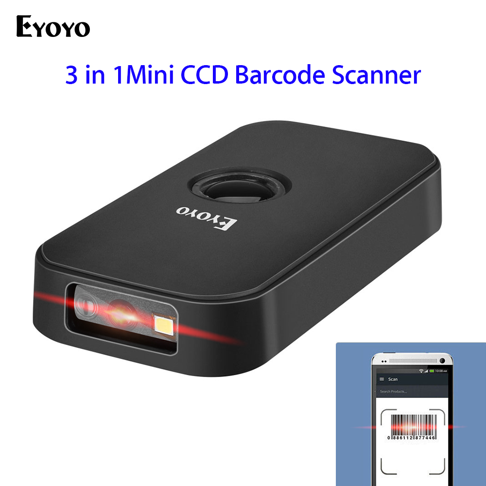 Eyoyo Barcode Scanner Android Portable CCD for IOS Connection Wired Bt-Mode 3-In-1