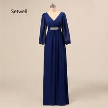 Setwell/Простые платья с длинными рукавами для матери невесты, высокое качество, v-образный вырез, открытая спина, шифон, для матери невесты