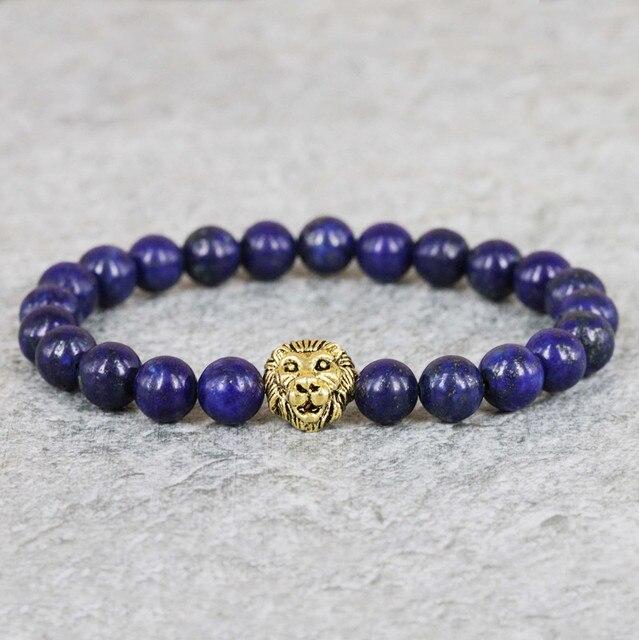2015 New Design Gem Beaded Bracelets,8mm Blue Lapis Lazuli Stone Beads  Lion Head Bracelet, High Grade Mens Jewelry