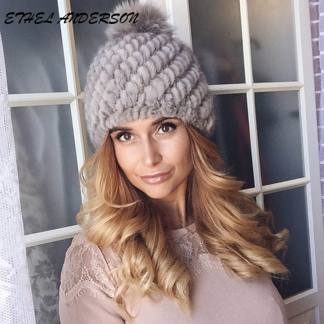 Fashion Winter Warm Real Mink Fur Hat For Women s Beanie Hat Russian Mink  Fur Cap with Fox Fur Pompom Ball a73246d54