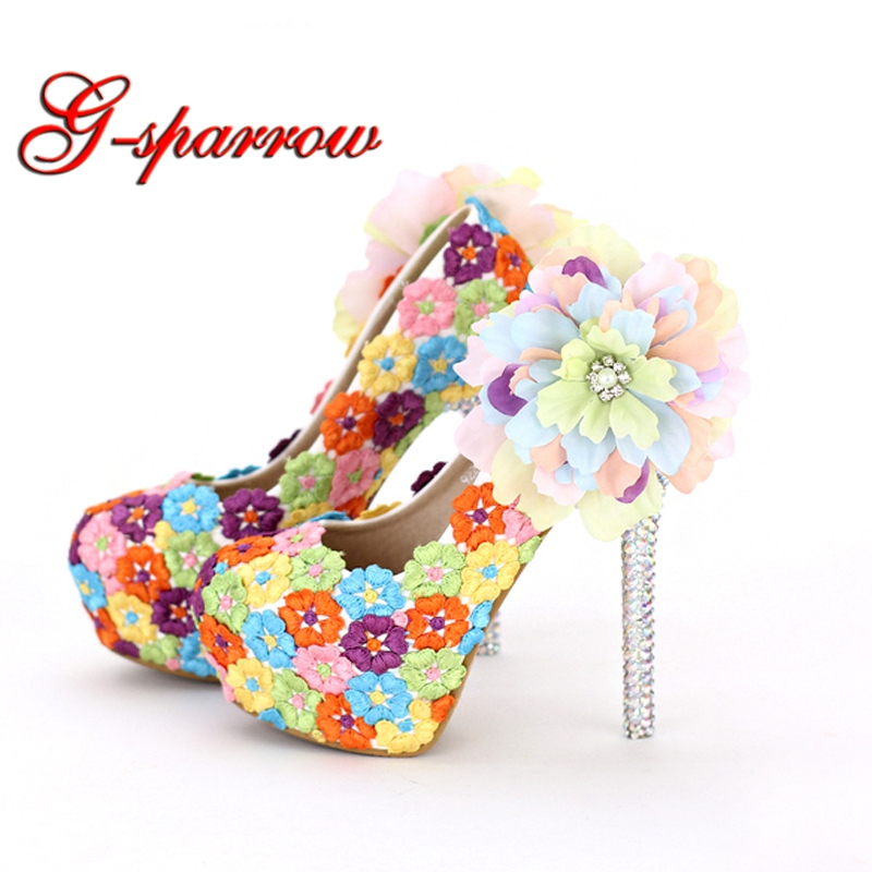 Colorful Lace Floral High Heels Beautiful Formal Dress Shoes Thin Heel Wedding Bridal Shoes Appliqued Dinner Party Prom Pumps women s fashion gold lace dinner evening party pumps shoes plus sizes low high heels custom made bridal wedding shoes