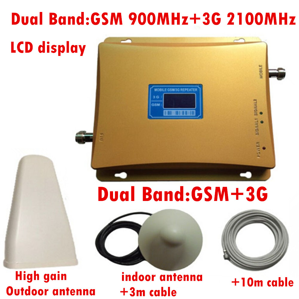 High Quality 1 Set 2G 3G GSM Dual Band Signal Booster GSM 900mhz 3G 2100mhz Dual Band Cellpone Gsm 3g Booster Signal Amplifier
