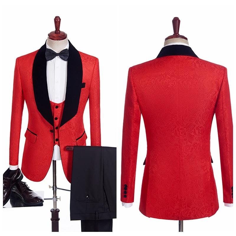 Vintage Red Printing Men Wedding Tuxedos Custom Groom Groomsmen Formal Suit High Quality Best Fitted Business(Jacket+Vest+Pants)