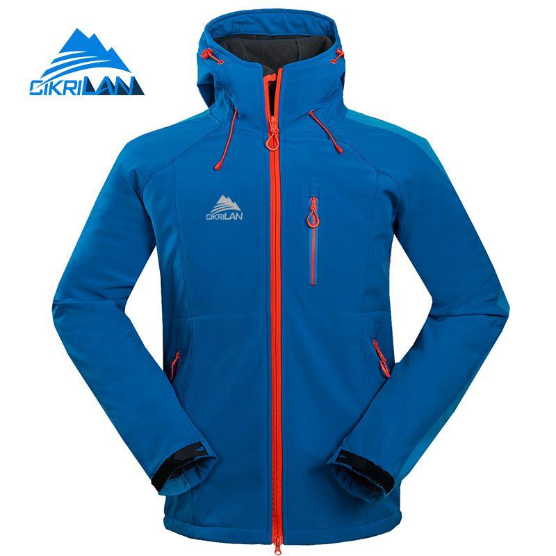 Cikrilan Men's Winter Autumn Hiking Camping Trekking Hooded Coat Outdoor Softshell Jacket Men Windbreaker Climbing Ski Jakcets