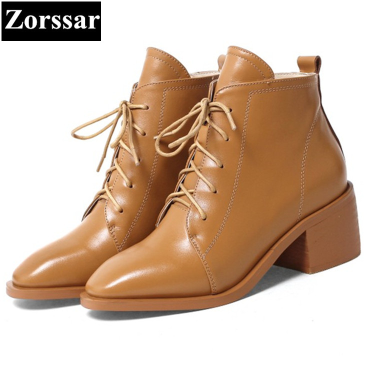 {Zorssar} NEW fashion High heels Women Boots pointed Toe lace-up thick heel ankle Motorcycle boots autumn winter female shoes zorssar brands 2018 new arrival fashion women shoes thick heel zipper ankle chelsea boots square toe high heels womens boots