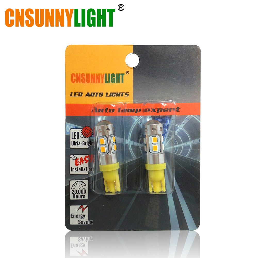 CNSUNNYLIGHT 2x T10 Bulb w5w LED Car DRL 2835 SMD 194 168 Clearance Light Brake Turn Signal Lamp 12V 6000k White Yellow Red Blue