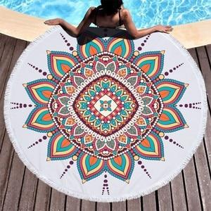 Image 3 - Runde Strand Handtuch Mandala Blume Mikrofaser Strand Handtücher Für Erwachsene Kinder Sommer Reise Sport Yoga Matte Picknick Große Bad Handtücher