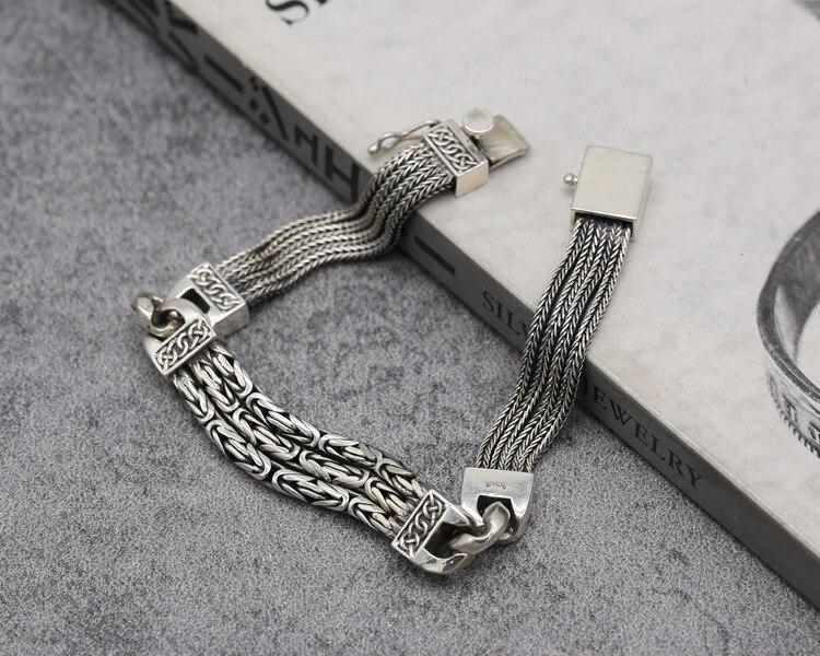 2019 браслеты из стерлингового серебра 925 пробы для мужчин и женщин, винтажные S925 Твердые тайские серебряные браслеты на цепочке, модные ювели... - 5