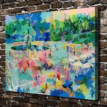 A1851 LeRoy Neiman Abstract Square Fountain Landscape,HD Canvas Print Home decoration Living Room Wall  pictures Art painting