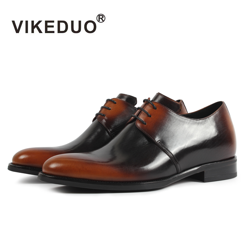 VIKEDUO Height Increasing Mens Derby Shoes Genuine Leather Brown Dress Shoes Patina Handmade Wedding Office Zapatos de HombreVIKEDUO Height Increasing Mens Derby Shoes Genuine Leather Brown Dress Shoes Patina Handmade Wedding Office Zapatos de Hombre