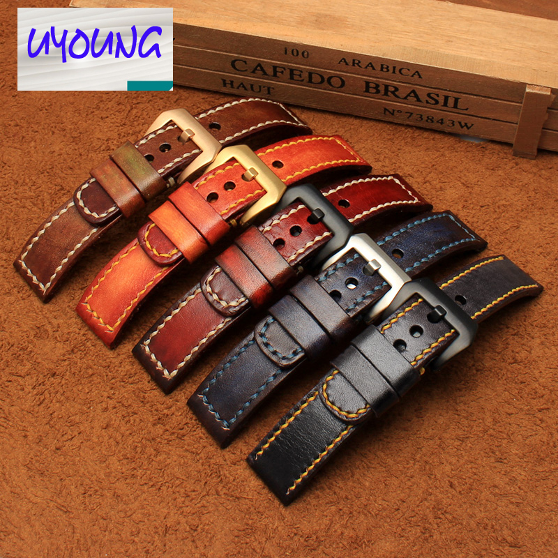 UYOUNG Handmade watch strap custom fit the fat sea PA441 watch retro make old ox leather watch belt male