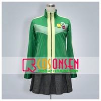 COSPLAYONSEN Persona 4 Chie Satonaka Cosplay Costume Full Set Green Jersey Garment All Size Made