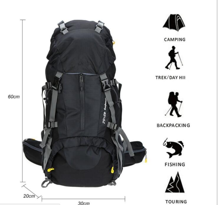1 Piece 70 L Backpack Waterproof Rucksack Trekking Bag Schoolbag + 1 Anti Rain Cover