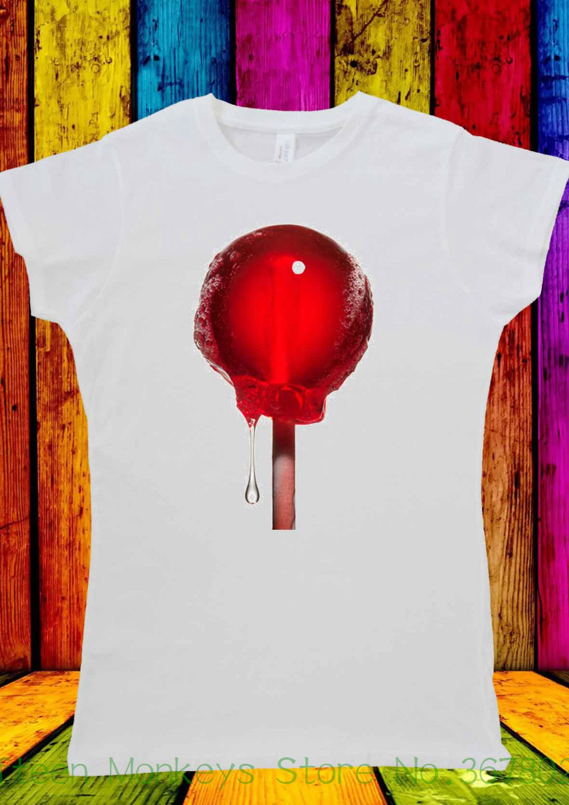 Womens Tee Red Lollipop Lollypop Sucker Hipster T-shirt Men Women Unisex 1622 Japanese Harajuku T Shrit