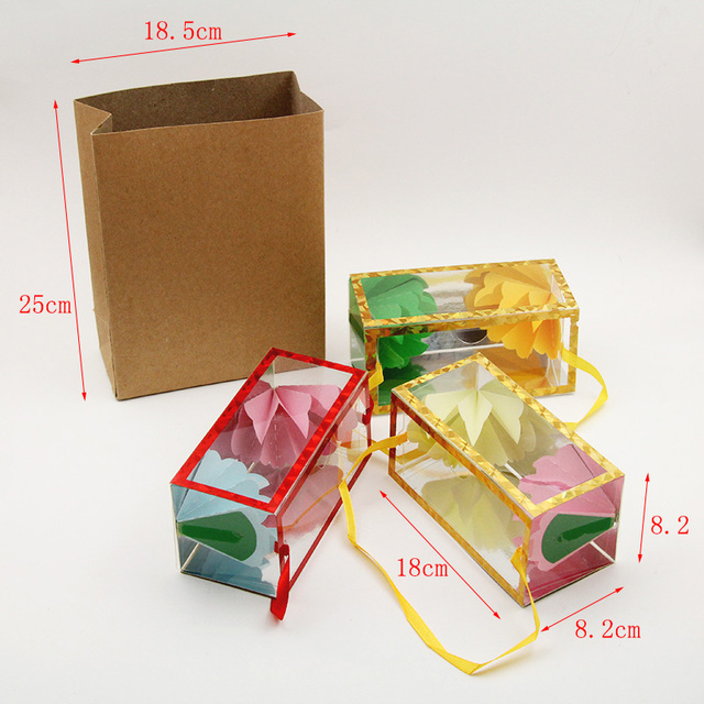 18 x 8.2 x 8.2cm Medium size Super delux Paper bag appearing flower empty from box magic tricks Dream Bag illusion tour magie