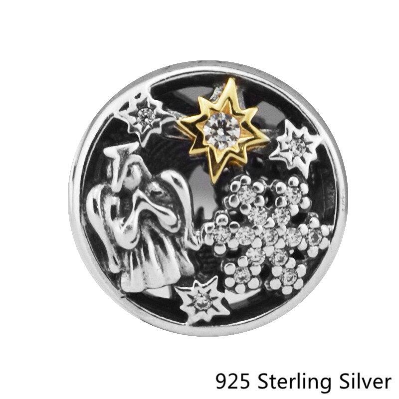 CKK 925 стерлингов Серебряные ювелирные изделия 14 К золотыми звездами Ангел оригинальные модные Талисманы Бусины подходит Pandora Браслеты