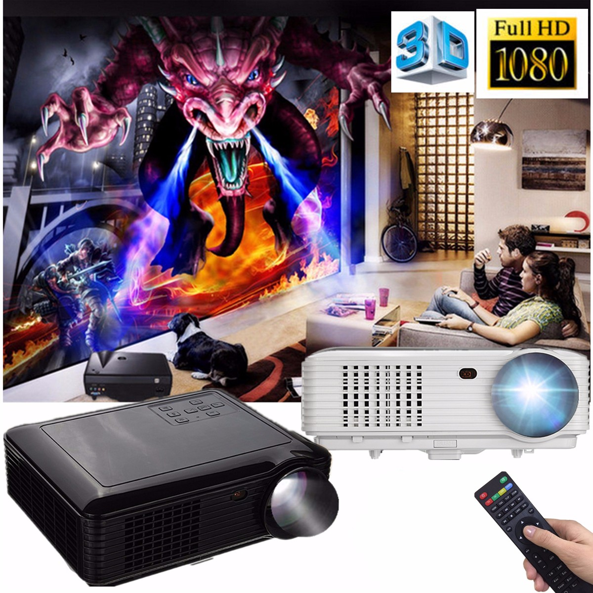 3500Lm LED Video Projector 800x480 Resolution Suppot 1080P USB VGA SD AV for for Home Theater Video Games Gaming Business