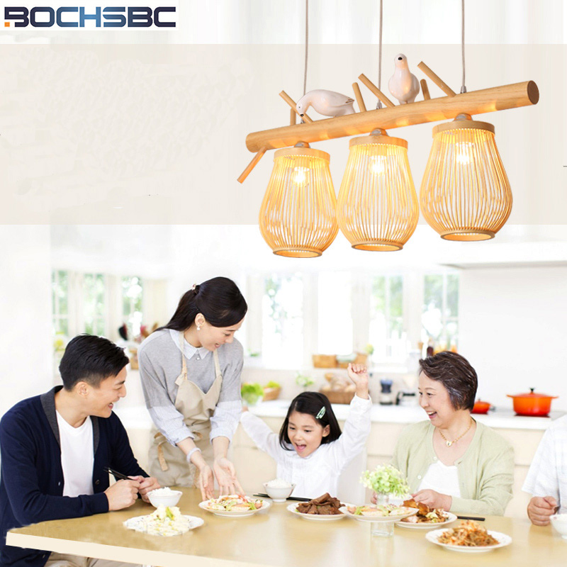 BOCHSBC Wicker knitted Lampshade Pendent Light New Chinese Simple Creative Bamboo art Handing Lamp for Living