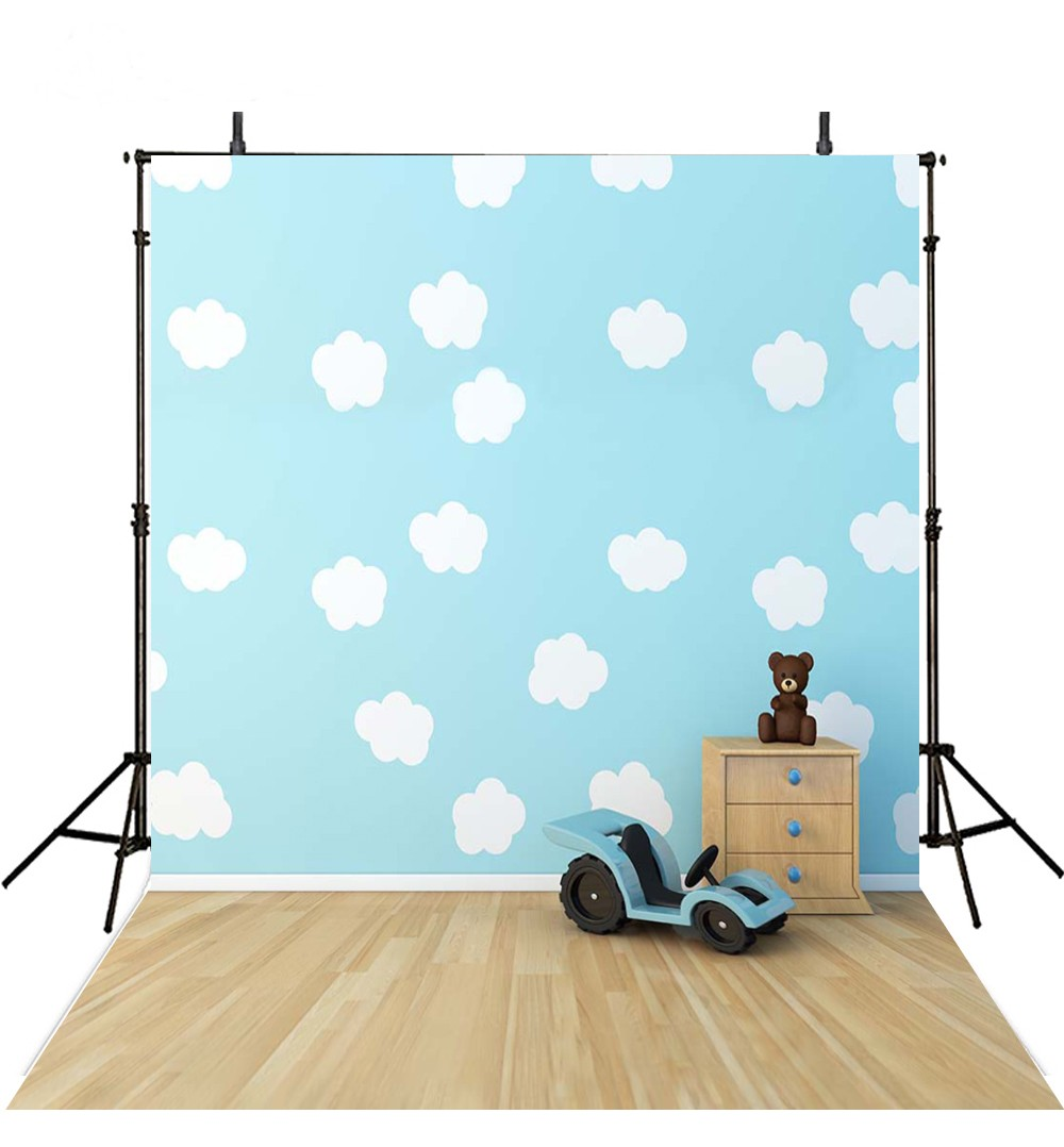 White Clouds Wall Car Teddy Bear backdrops Vinyl cloth High quality Computer printed newborn baby Backgrounds for sale