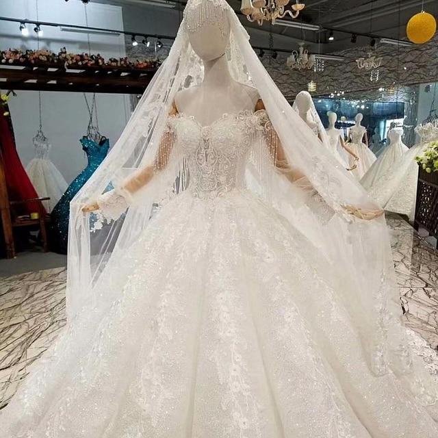 647744 nouvelles robes De mariée musulmanes De luxe avec Hijab 2019 manches  longues haut De gamme