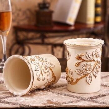 Arredamento Forchetta E Cucchiaio | Stile Americano Titolare Bacchette Di Ceramica Porcellana Fatti A Mano In Rilievo Fiore Cucchiaio Forchetta Coltello Mensola Di Scarico Tavola Decorazione