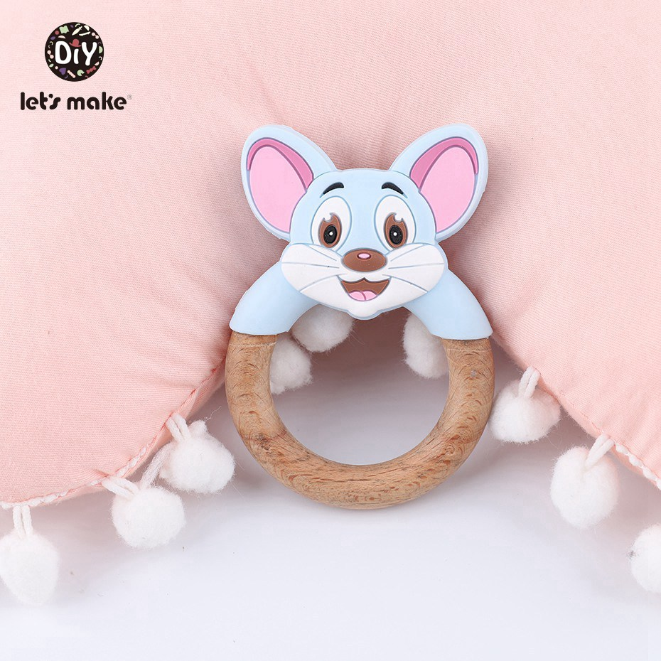 Let s make 10Pcs Cartoon Wooden Teething Rings Food Grade Silicone Mouse Nursing Pendant Toddler Toys