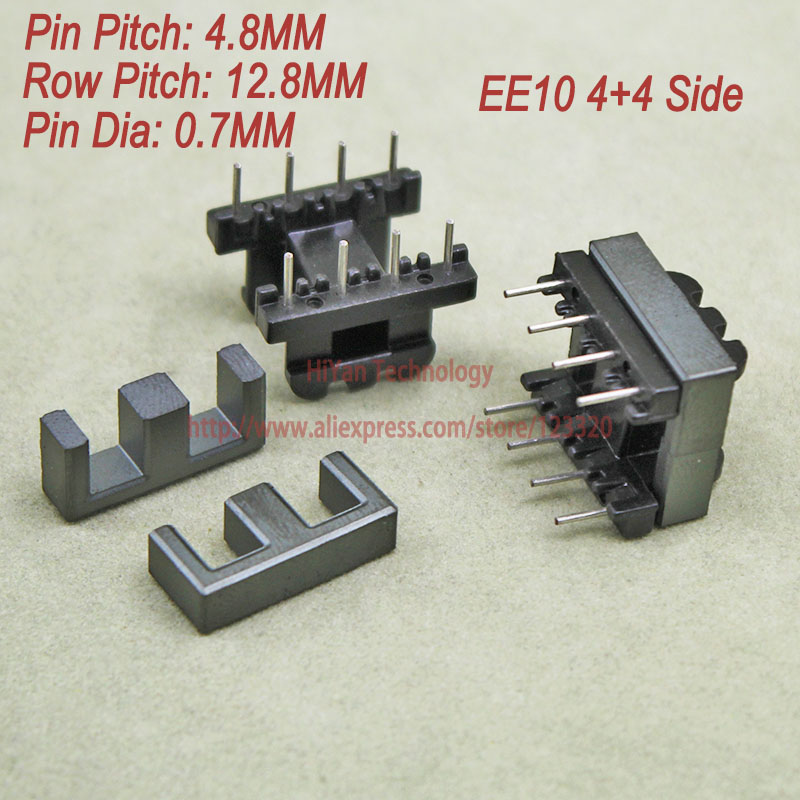 20sets/lot EE19 PC40 Ferrite Magnetic Core and 4 Pins + 4 Pins Side Entry Plastic Bobbin Customize Voltage Transformer