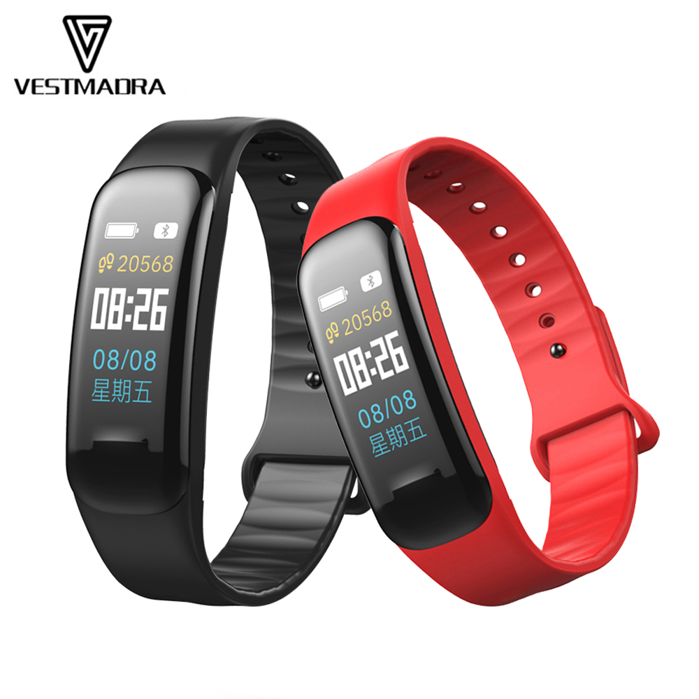 VESTMADRA C1 Plus Color Screen Smart Bracelet Blood Pressure Smart Band Heart Rate Monitor Fitness Tracker Sport Smart Wristband id118 plus smart wristband fitness