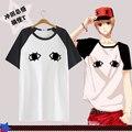 Gintama T shirt Anime Silver Soul Okita Sougo Cos traje patrón de ojo camiseta de hombre ocasionales las tapas de la camiseta