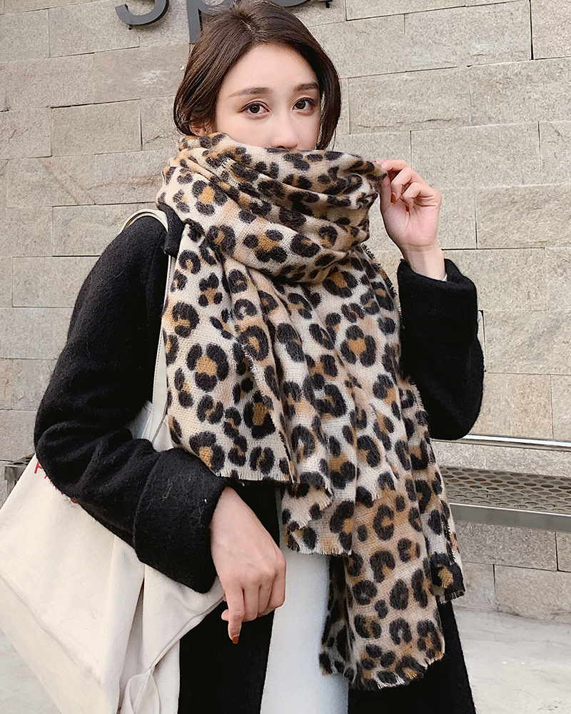 Winter Popurlar Leopard Print   Scarf     Wrap   Women Long Knitted Warm Shawl Fashion Thick   Wrap   large Size Pashmina