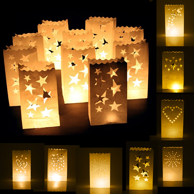 New Hot 10pcs Ling Stars Heart Sun Design Candle Bags Lantern White For Christmas