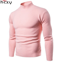 HCXY 2019 Men's Knitted Baseshirts Men Pullover Sweater Male Undershirt Mens Soft Sweaters Solid color Standing collar Stretch