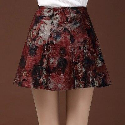 Женская плиссированная юбка из овчины с принтом - 2