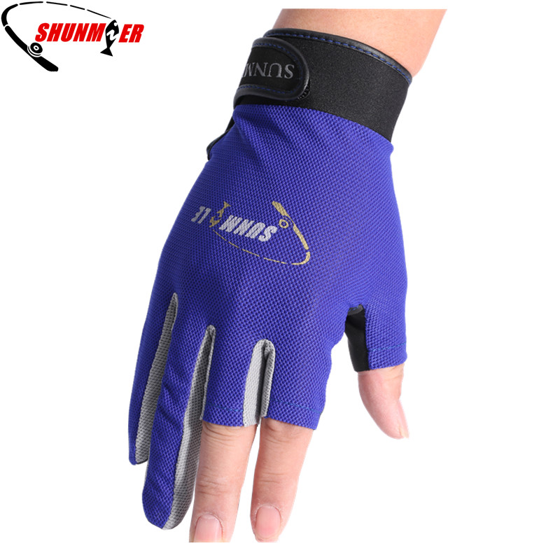 SHUNMIER Fishing Gloves 3 Half Finger Durable Anti-Slip Breathable Pu And Neoprene Sport Gloves Pesca Tackle Insulated Luvas 1 pair 3 half finger fishing gloves skidproof resistant half finger cycling fishing anti slip tool for fishing tackle boxes hot