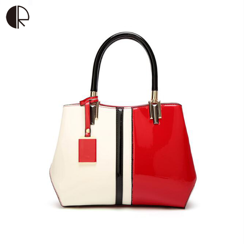New Hit Color Stitching Handbag for Female dames tassen Lady Paint Leather Bag Women Shoulder Bag/Totes/Clutch Evening Bags stylish women s hit color spaghetti strap blouse