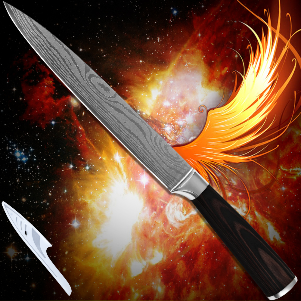 Kitchenware 8 inch slicing font b knife b font 7Cr17stainless steel Damascus pattern superb sharp kitchen