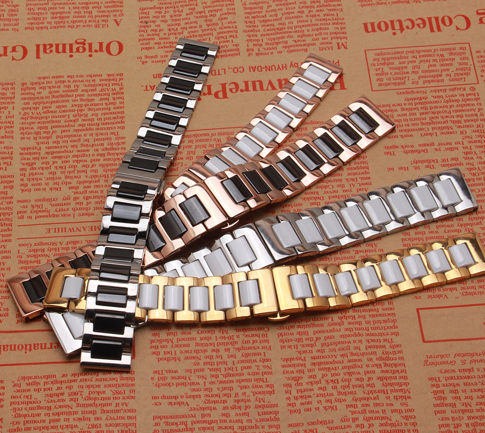 Mixed color Watch band new Ceramic and Stainless Steel Watchband watch strap bracelet for diamond wrist watch Butterfly Buckle stylish 8 led blue light digit stainless steel bracelet wrist watch black 1 cr2016