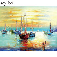 Digital Painting By Numbers Seascape Sailboat Sunset Modern Picture DIY Frame Oil Paint Wall Art Pictures Decor For Home Decore(China)
